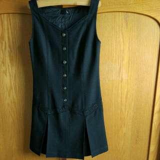 日本製黑色毛料洋裝