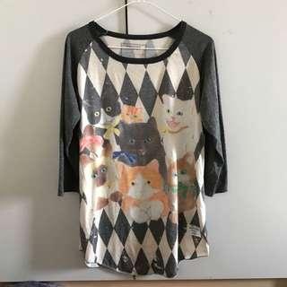 🚚 貓咪七分袖上衣