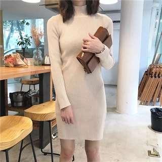 👑針織高領連身裙