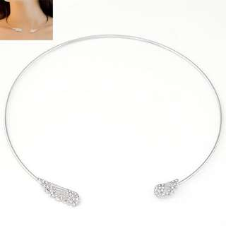 Silver Crystal Wings Choker Necklace