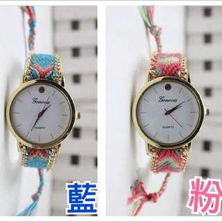 國外購回 全新民俗風編織手錶 兩色 便宜出清