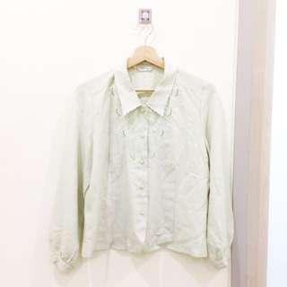 🎈古著。果綠色長袖小包袖襯衫