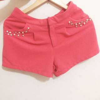 NET西瓜紅珍珠短褲