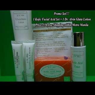 Kojic Acid Facial Set And Glutathione Lotion 😃