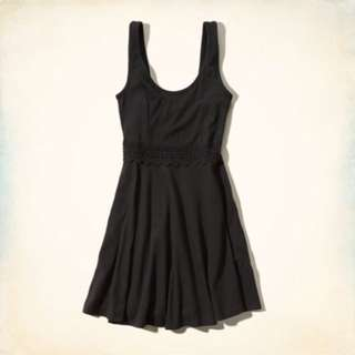 Hollister黑色簍空蕾絲A字裙
