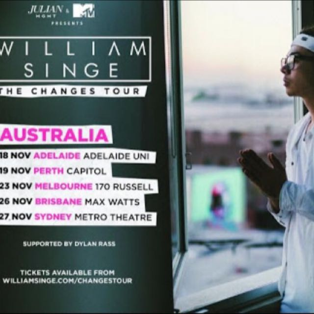 2x William Singe Tickets 23 Nov 2016