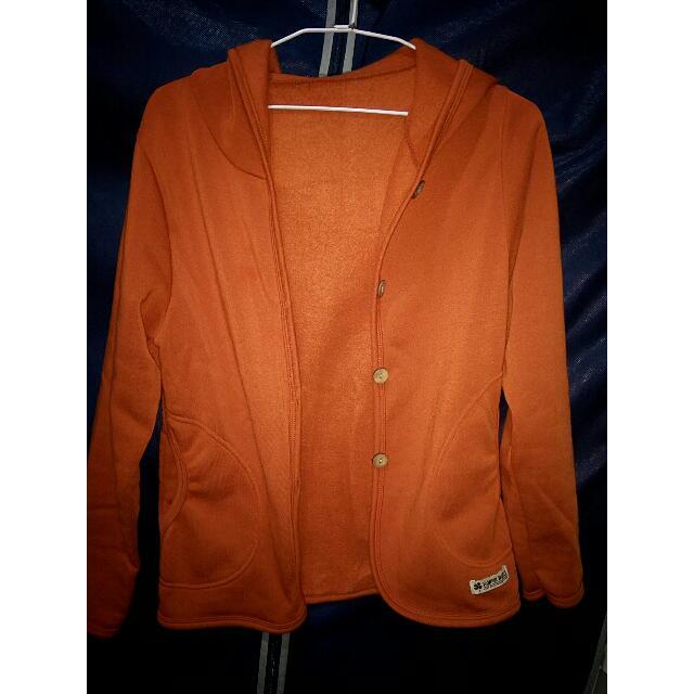 橘色內刷毛連帽外套