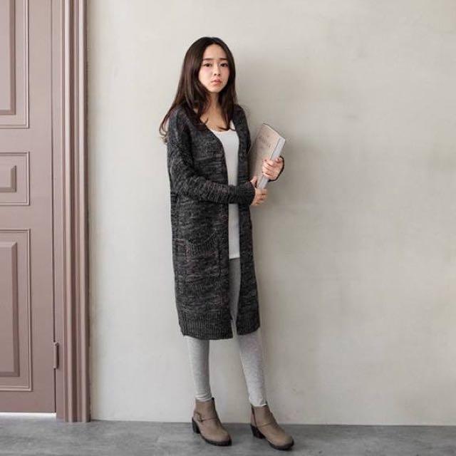 雙口袋混色長版針織外套罩衫
