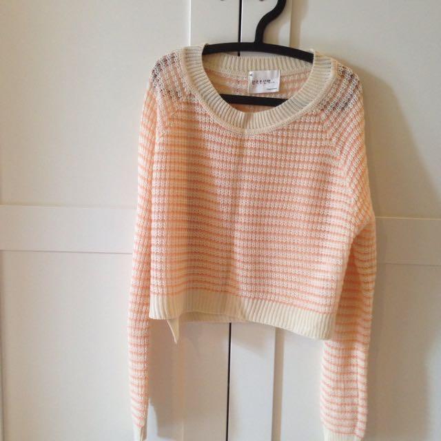 奶油白粉色條紋短版衣#百元全新女裝