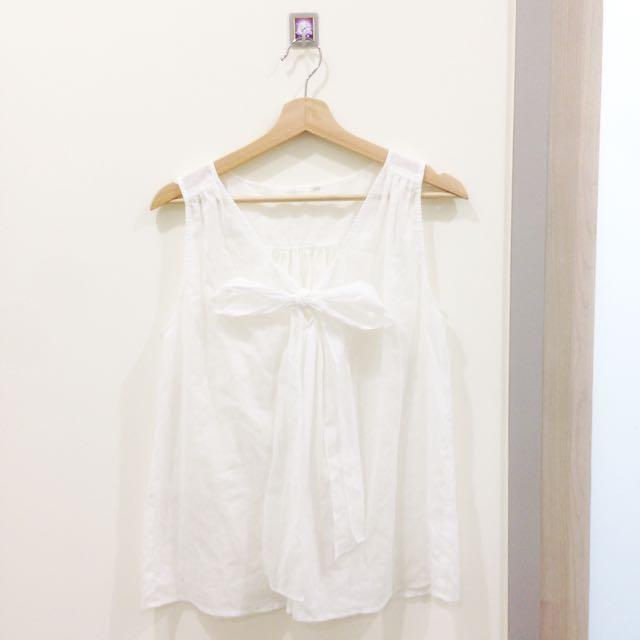 🎈專櫃。麻紗無袖蝴蝶結上衣