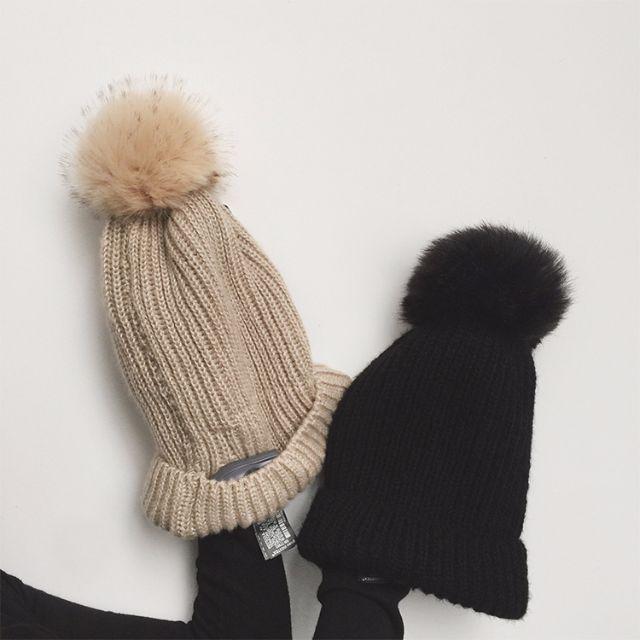狐狸毛球毛帽
