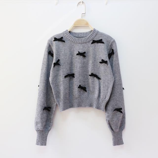日本精品服飾 對稱手工立體蝴蝶結短版毛衣