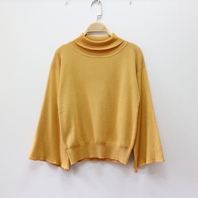日本精品服飾 喇叭袖高領針織上衣 芥末黃/黑/紫粉