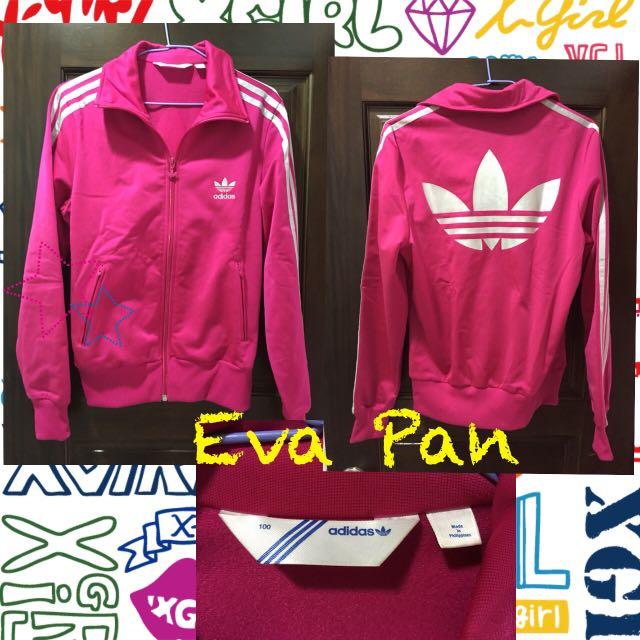 Adidas 愛迪達 韓國帶回 山葉草 桃紅色 銀色條紋 運動外套