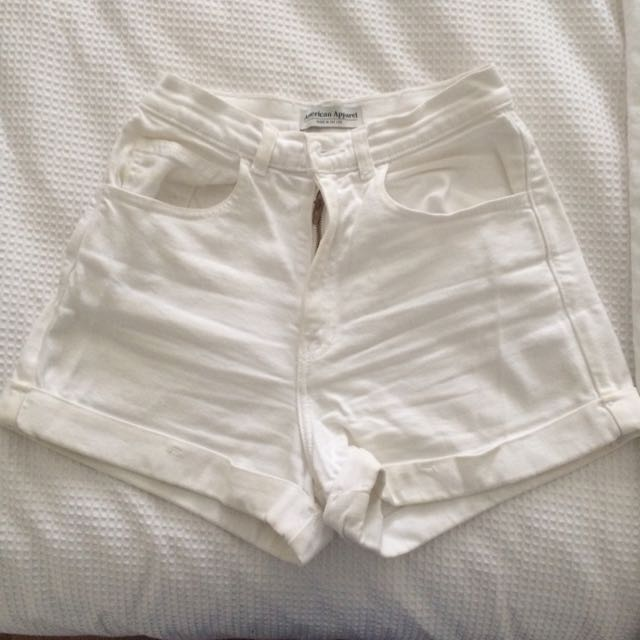 American Apparel High Waisted White Shorts