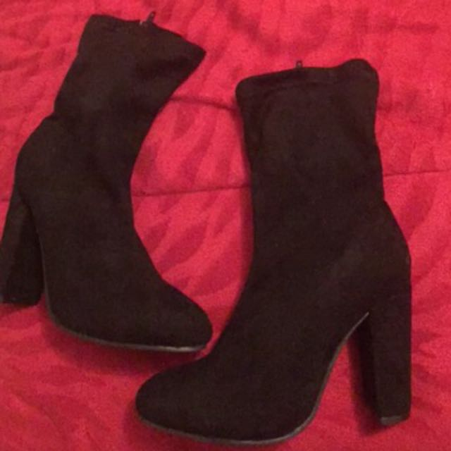 Ankle Boots in Black Faux Suede