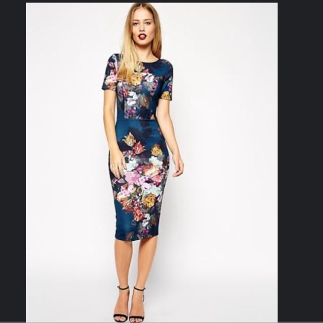 ASOS Floral Scuba Bodycon Dress #1212