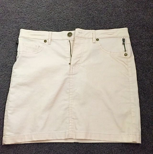 Beige Denim Mini Skirt (S)