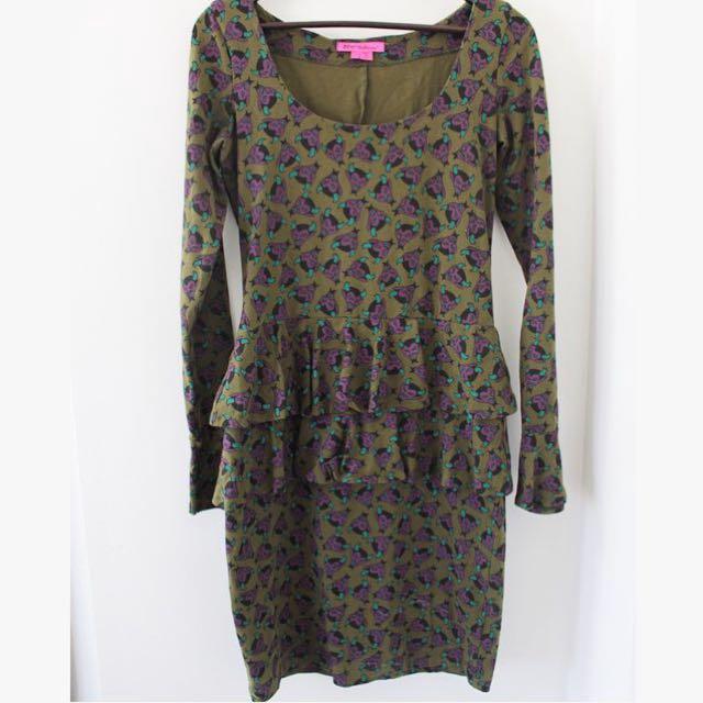 """Betsy johnson dark green """"devil"""" dress"""