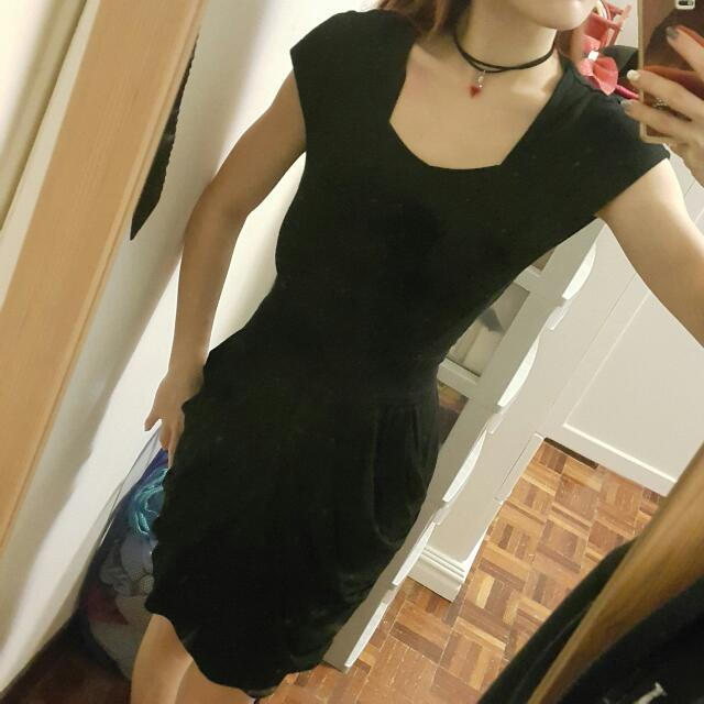Bat Wing Black Office Dress