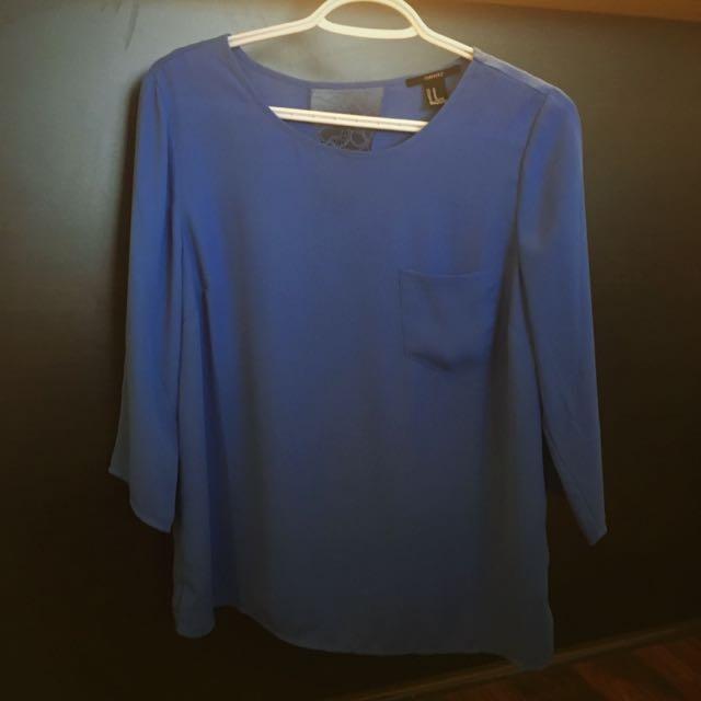 Blue Blouse W/ Lace Back