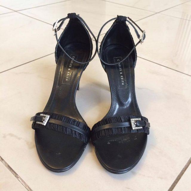 CHARLES & KEITH Black Satin Heels