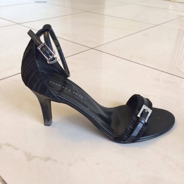 CHARLES & KEITH Black Satin Heels