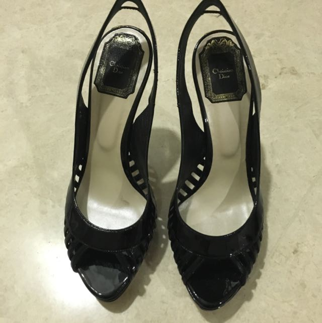 ff9c8e4edac0 Christian Dior Whisper Black Patent leather Sling back Sandals Heels ...