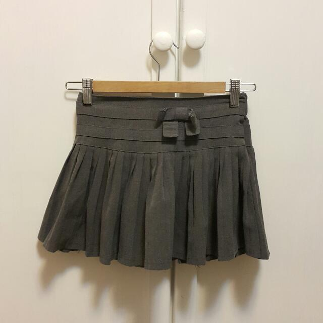 Dark Grey Tennis Baseball Pleated Skirt