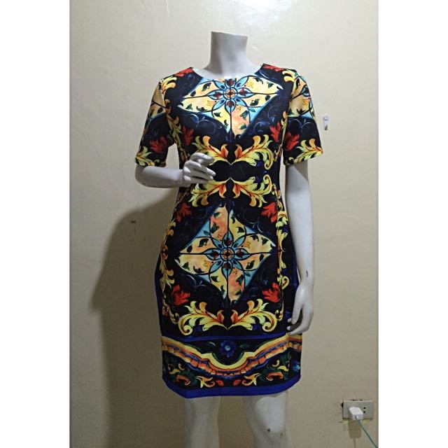 D&G Inspired Majolica With Sleeves Fitted Dress In Black