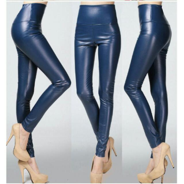 Faux Leather Blue Skinny Pant