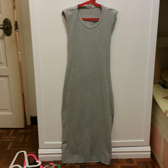 Grey Back Cutout Long Dress