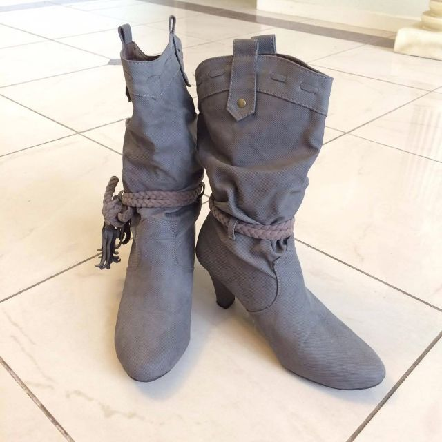 Grey Cowboy Style Heeled Boots