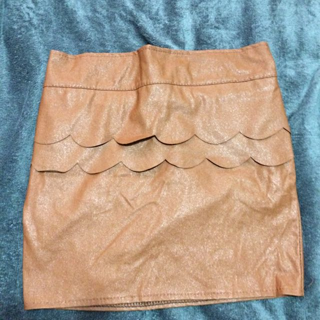 I. CANDY Tan Leather Skirt