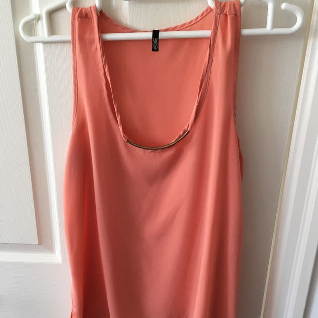 Light Orange Top w/gold attached Necklace