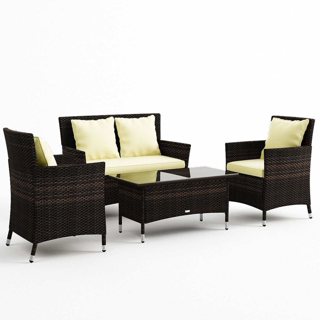 photo photo photo - Luxo Coogee 4 Piece PE Wicker Outdoor Furniture Setting - Coffee