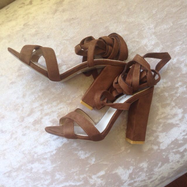 Marco Gianni Lace Up Brown Heels