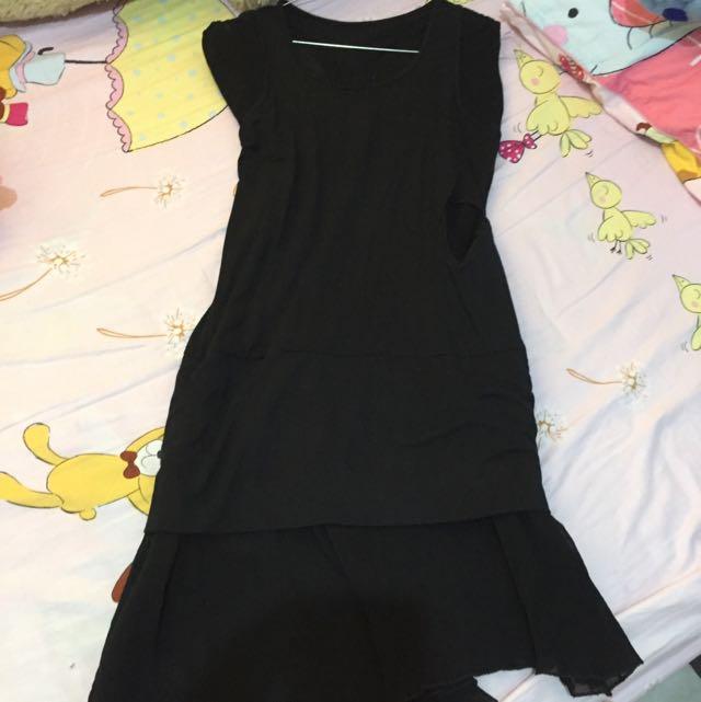 midi dress hitam