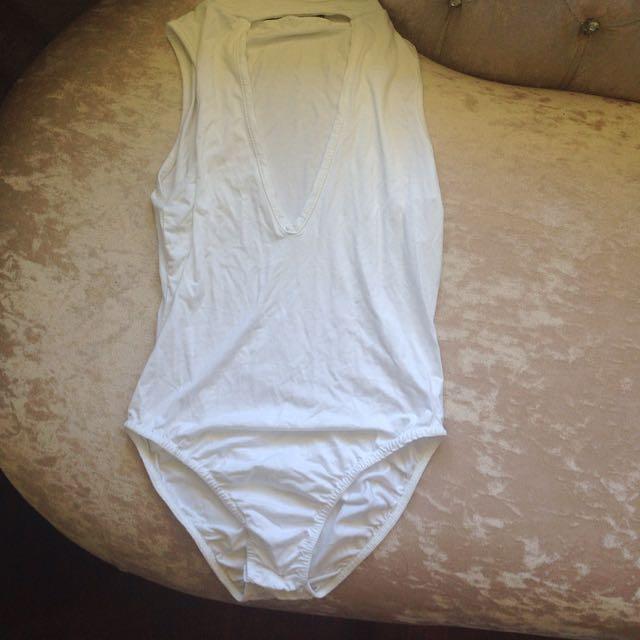 Missguided White V Neck Bodysuit