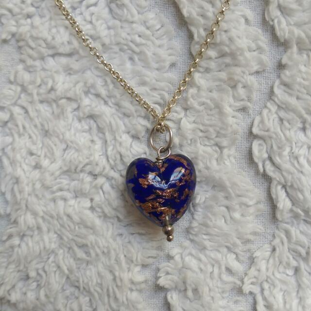 """""""Murano"""" Glass Heart On 46cm Sterling Silver Chain"""