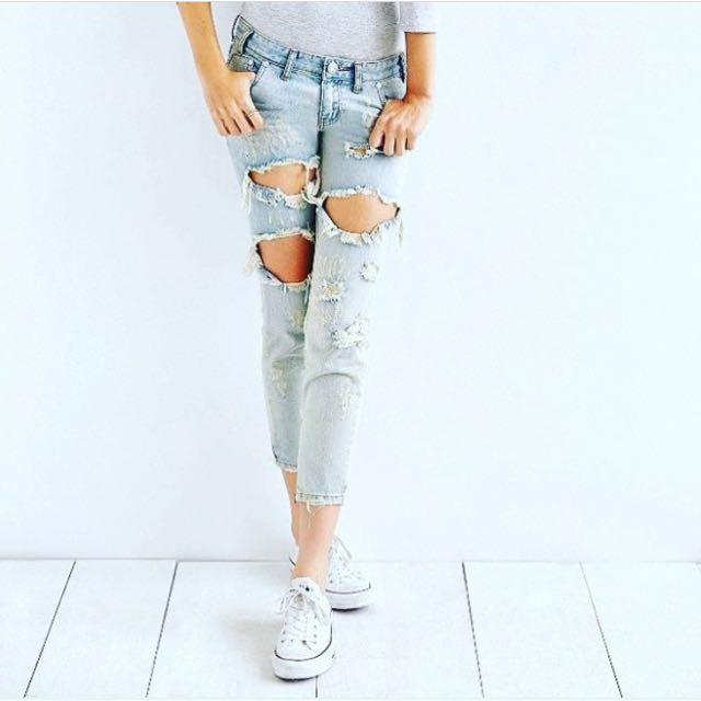 One Teaspoon Ripped Denim Jeans