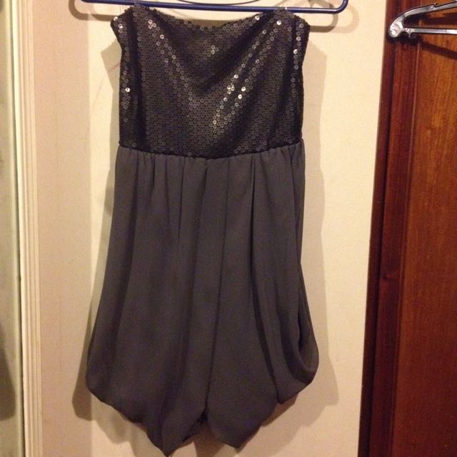 Shiny Party Dress Black And Grey