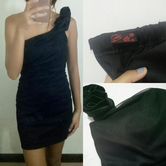 Satin Brand One Sided Dress