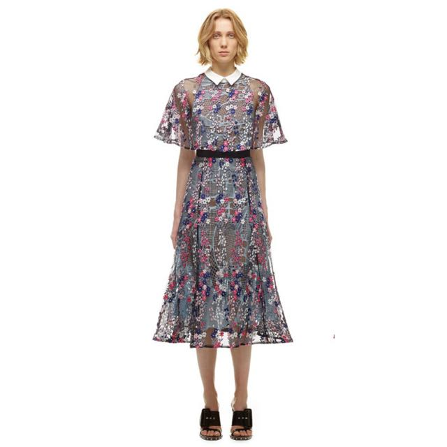Self Portrait Floral Vine Collared Dress