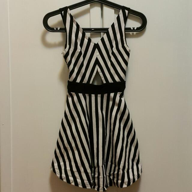 Stripes Short Cutout Dress