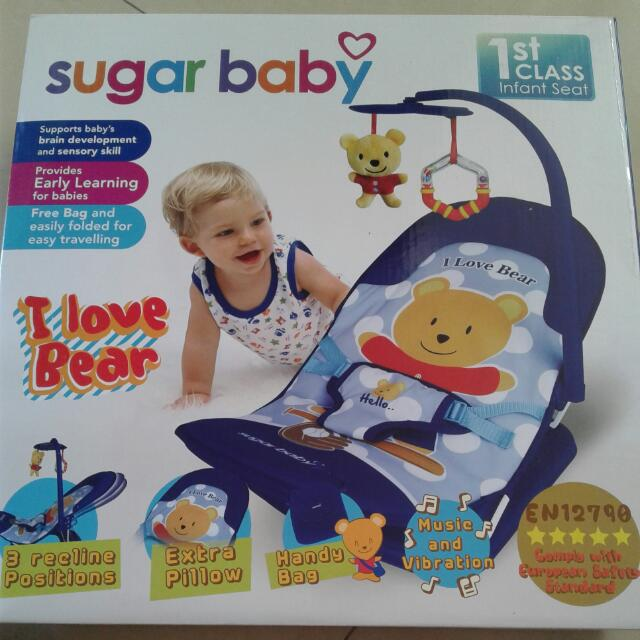 SUGAR BABY 1 St Class Fold Up Infant Seat With 1Melodies And Soothing Vibrations Kutsi Lipat