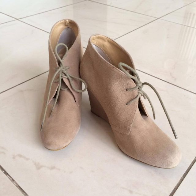 TONY BIANCO Beige Wedge Boots