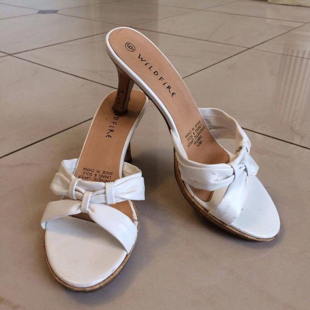 White Cork-Heeled Sandals