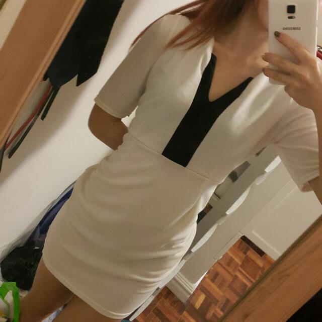 White Office Deep V Dress