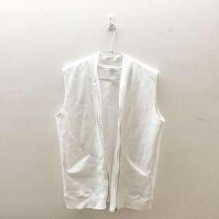 白色 棉質 背心外套